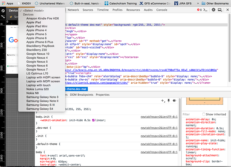 Chrome mobile developer tools screen shot