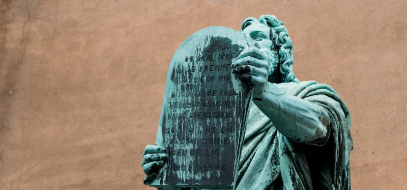 Statue of Moses holding tablet