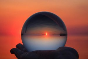 Crystal ball with sunset inside