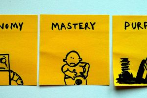 Sticky notes of autonomy mastery and purpose