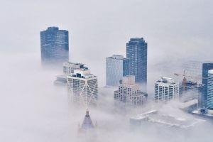 City shrouded in fog