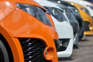 Line of fast cars