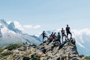 Group standing on a mountain