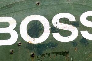 Boss logo on metal