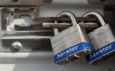 Locks aligned with bolt