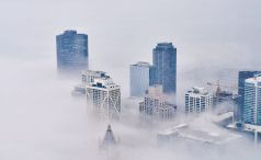 City shrouded in fog